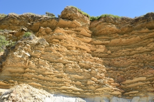 Layers of sandstone on Cape Gerakas in the SE of Zakynthos.