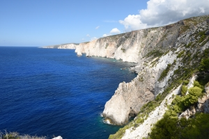 Characteristic limestone cliffs at the W coast of Zakynthos.
